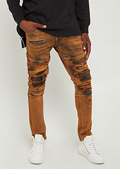 Flex Orange Destroyed Moto Skinny Pants