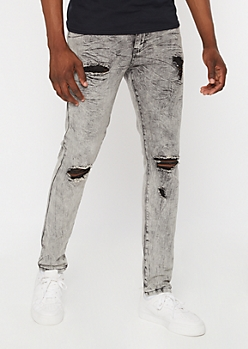 Supreme Flex Gray Acid Wash Distressed Skinny Jeans