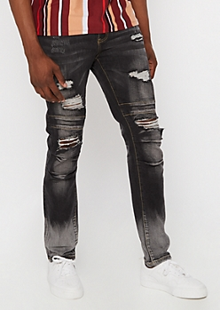 Supreme Flex Black Moto Ripped Skinny Jeans