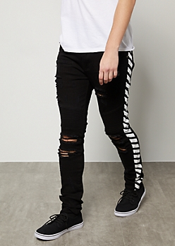 Flex Black Moto Zip Pocket Side Striped Skinny Jeans