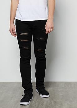 Flex Black Destroyed Super Skinny Jeans