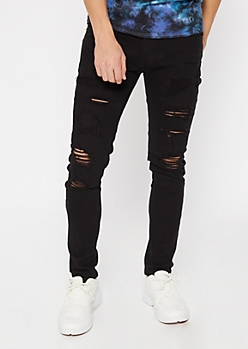 Flex Black Destroyed Skinny Jeans