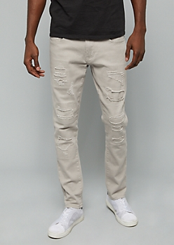 Flex Gray Ripped Patch Skinny Twill Pants