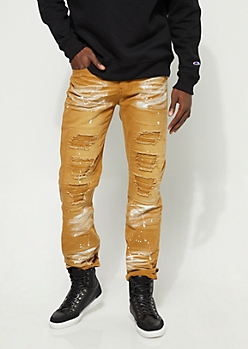 Taupe Distressed Paint Splatter Moto Jeans