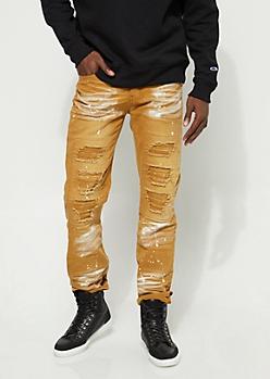 Mustard Paint Splattered Moto Distressed Slim Fit Jeans