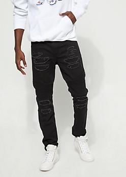Distressed Slim Fit Black Moto Jeans
