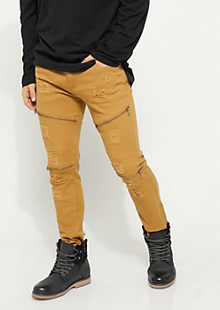 Slim Fit Zip Frayed Camel Jeans