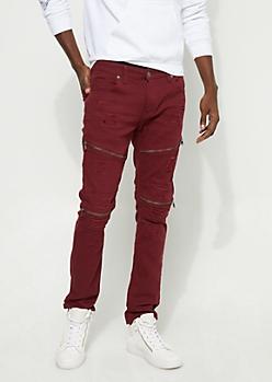 Slim Fit Zip Frayed Burgundy Jeans