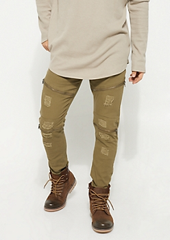 Slim Fit Zip Frayed Olive Jeans