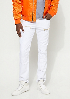 Slim Fit Stitch Detail Zipped White Jeans