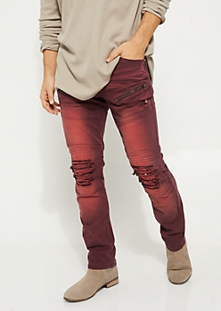 Burgundy Distressed Skinny Jeans