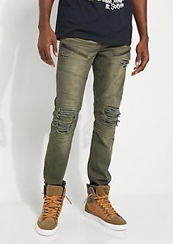 Olive Distressed Skinny Jeans
