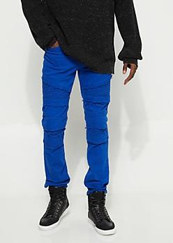 Royal Blue Frayed Moto Skinny Jeans
