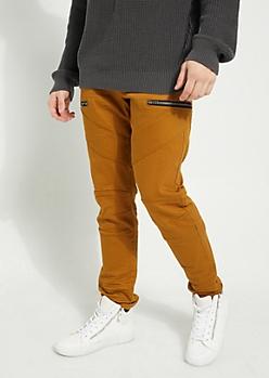 Camel Diagonal Moto Flex Skinny Pants