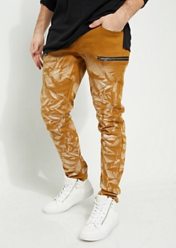 Camel Baking Diagonal Moto Flex Skinny Pants