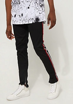 Black Track Striped Skinny Pants