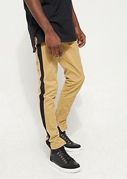 Flex Khaki and Black Varsity Striped Skinny Jeans