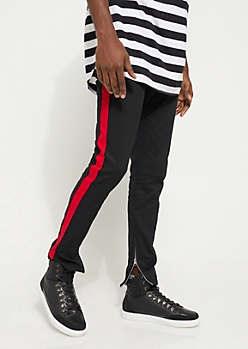 Flex Black and Red Varsity Striped Skinny Jeans