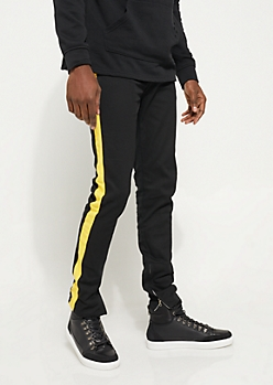 Flex Black and Yellow Varsity Striped Skinny Jeans