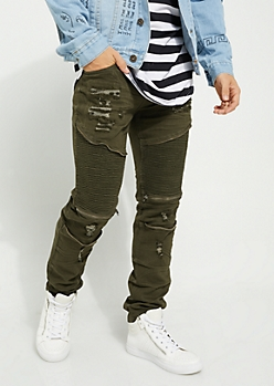 Dark Olive Faux Zip Destroyed Moto Flex Skinny Jeans