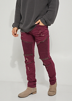 Flex Burgundy Moto Zipper Distressed Skinny Jeans