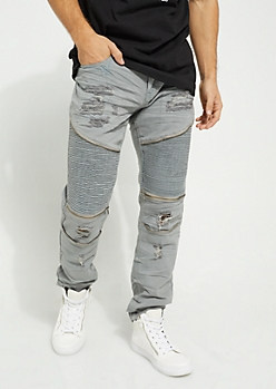 Gray Faux Zip Destroyed Moto Flex Skinny Jeans
