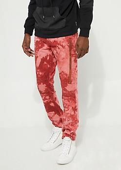 Red Tie Dye Zip Flex Fit Moto Pants