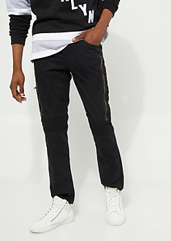 Flex Black Long Zipper Skinny Moto Jeans