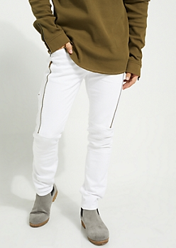 White Long Zip Flex Skinny Fit Moto Jeans