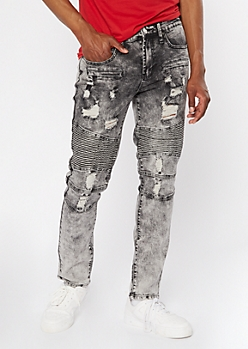Gray Acid Wash Moto Skinny Jeans