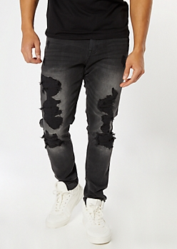 Black Washed Ripped Repaired Skinny Jeans