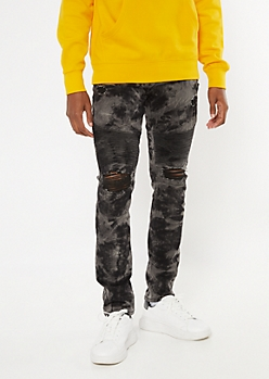 Gray Acid Wash Ripped Knee Moto Skinny Jeans
