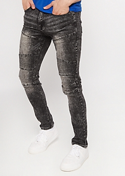Supreme Flex Black Acid Wash Moto Super Skinny Jeans