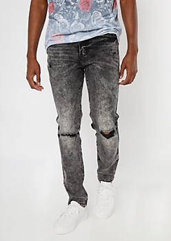 Black Acid Wash Ripped Knee Skinny Jeans