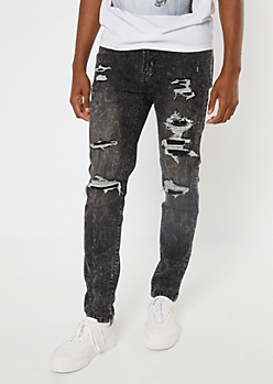 Supreme Flex Gray Acid Wash Ripped And Repaired Skinny Jeans