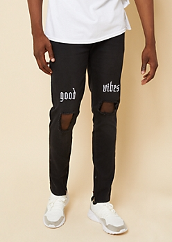 Flex Black Good Vibes Ripped Knee Skinny Jeans