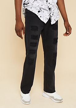 Black Patched Distressing Bootcut Jeans