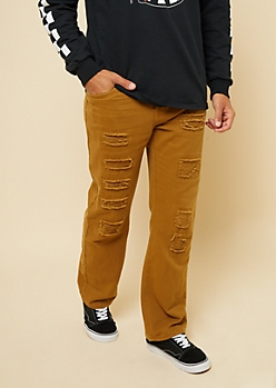 Camel Patched Distressing Bootcut Jeans
