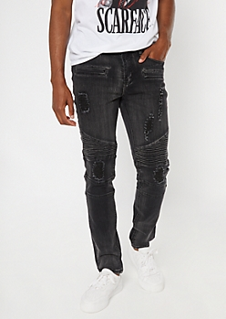 Washed Black Ripped And Repaired Moto Skinny Jeans