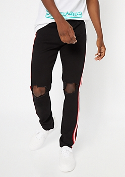 Supreme Flex Black Side Striped Blown Knee Skinny Jeans