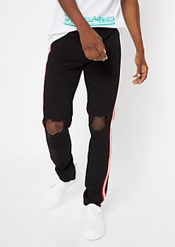 Supreme Flex Black Side Striped Blown Knee Skinny Jeans