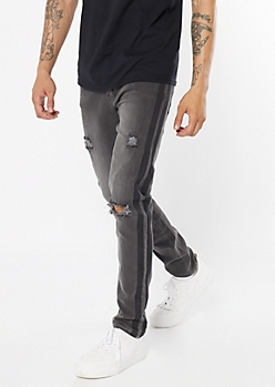 Supreme Flex Black Side Striped Ripped Knee Skinny Jeans