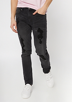 Supreme Flex Black Ripped Skinny Jeans
