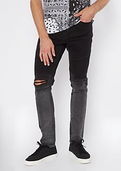 Black Ombre Moto Jeans