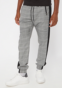 White Plaid Zippered Pocket Joggers