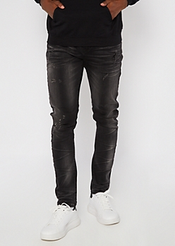 Black Faded Knee Dart Stretch Skinny Arc Jeans