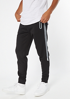 Black Mesh Side Tech Joggers