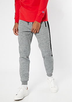 Gray Space Dye Mesh Side Tech Joggers