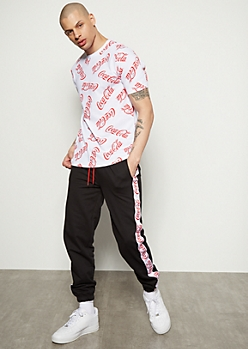 Black Coca Cola Side Striped Joggers