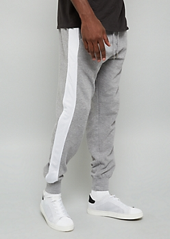 Gray Mesh Side Striped Joggers